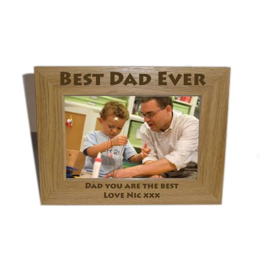 Best Dad Ever Wooden Photo frame 6 x 4 - Personalise this frame-Free Engraving - Please email glamgifts50@yahoo co uk
