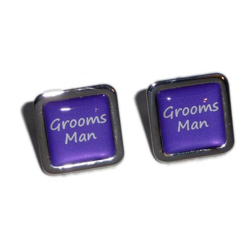 Grooms Man Purple Square Wedding Cufflinks