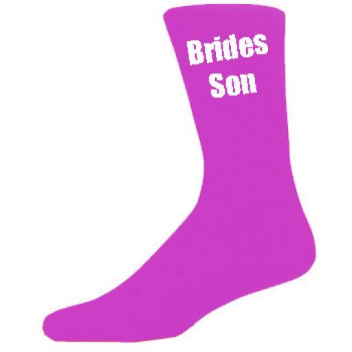 Hot Pink Mens Wedding Socks - High Quality Brides Son Hot Pink Socks (Adult 6-12)