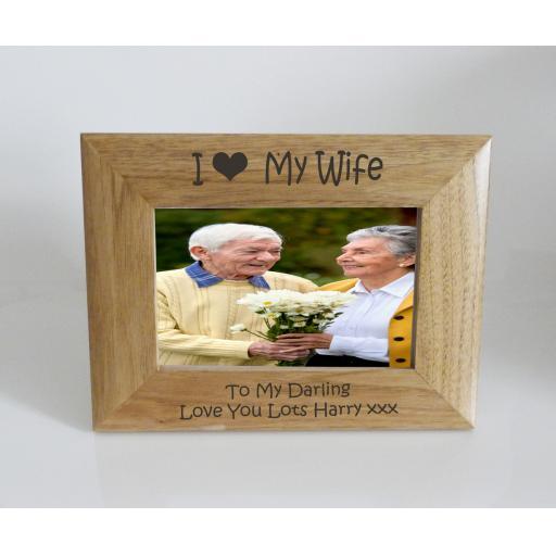 Wife Photo Frame 6 x 4 - I heart-Love My Wife 6 x 4 Photo Frame - Free Engraving