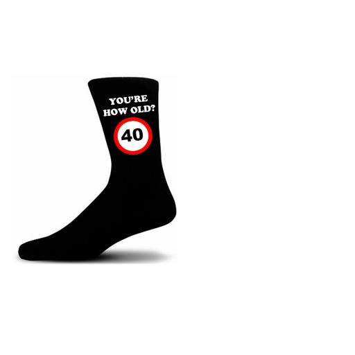 How Old Are You? 40 Speed Sigh Black Novelty Birthday Socks