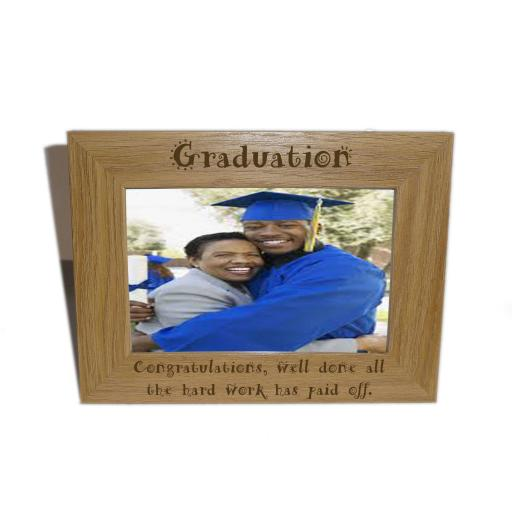 Graduation Wooden Photo frame 6 x 4 - Personalise this frame - Free Engraving - Please email glamgifts50@yahoo co uk