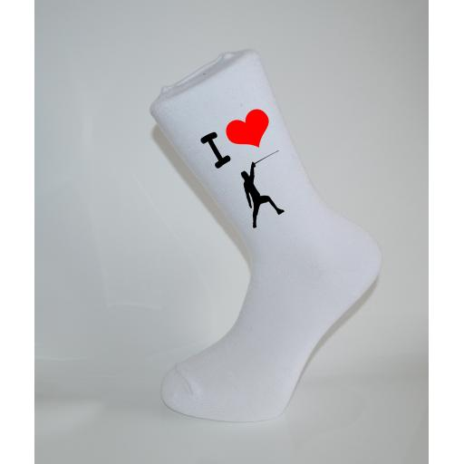 I Love Fencing White Socks, Great Socks for the sportsman, Adults 6-12