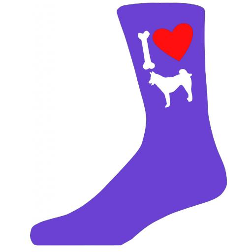 Purple Ladies Novelty Husky Socks- I Love My Dog Socks Luxury Cotton Novelty Socks Adult size UK 5-12 Euro 39-49