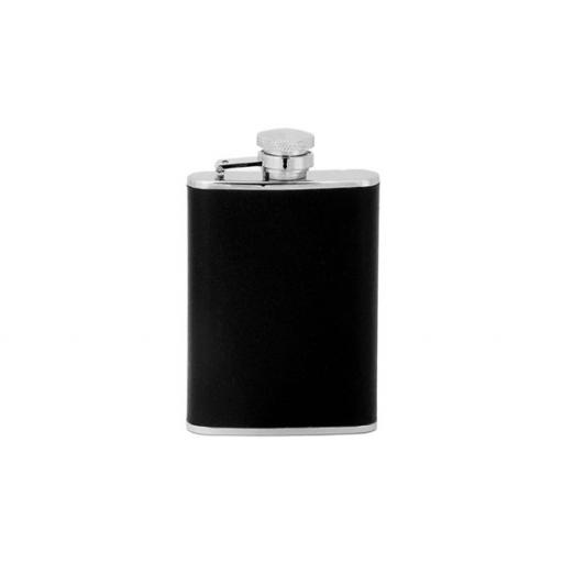Stainless Steel Hip Flask with Black Imitation Leather, 3oz Pocket Size All our cufflinks come presented in a gift box