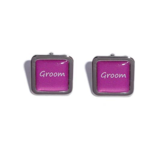 Groom Hot Pink Square Wedding Cufflinks