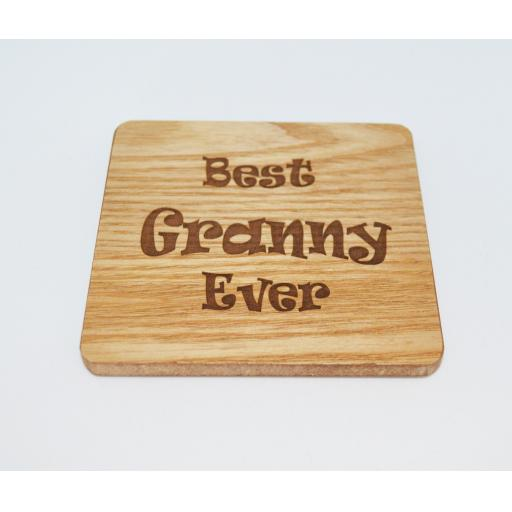 Best Granny Ever Wooden Engraved Coaster
