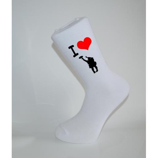 I Love BasketBall White Socks, Great Socks for the sportsman, Adults 6-12