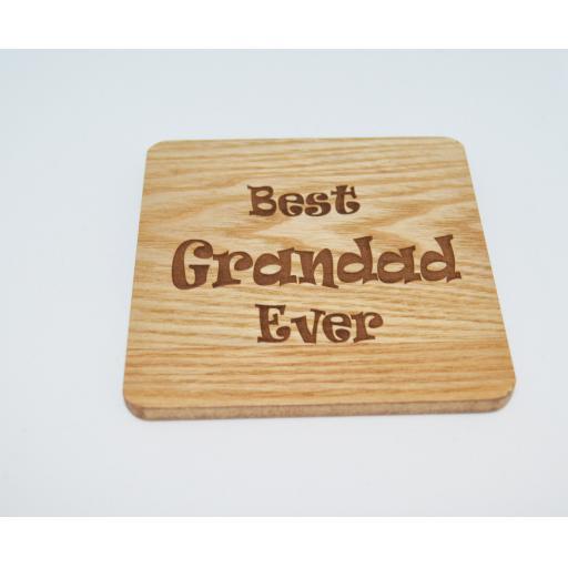 Best Grandad Ever Wooden Engraved Coaster