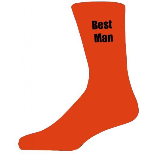 Orange Wedding Socks with Black Best Man Title Adult size UK 6-12 Euro 39-49