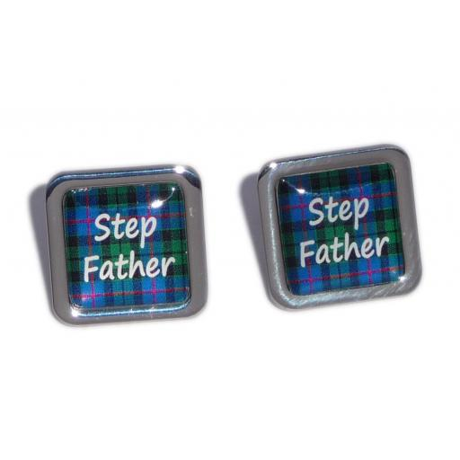 Stepfather Blue Tartan Square Wedding Cufflinks