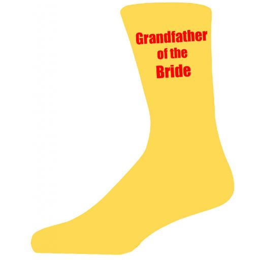 Yellow Wedding Socks with Red Grandfather of The Bride Title Adult size UK 6-12 Euro 39-49