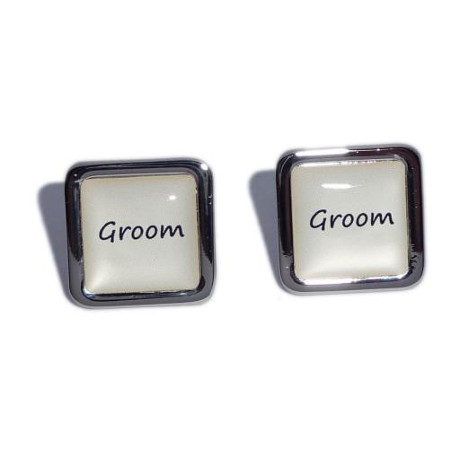 Groom Ivory Square Wedding Cufflinks
