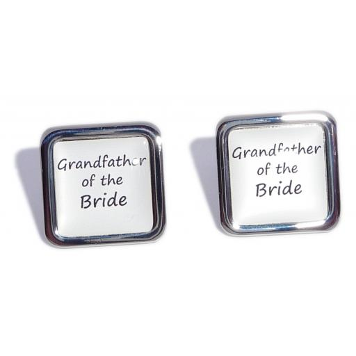 Father of the Bride White Square Wedding Cufflinks