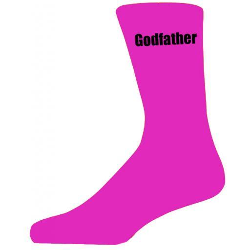 Hot Pink Wedding Socks with Black Godfather Title Adult size UK 6-12 Euro 39-49