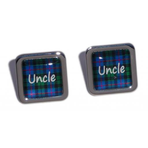 Uncle Blue Tartan Square Wedding Cufflinks