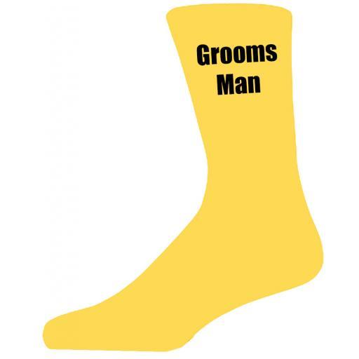 Yellow Wedding Socks with Black Grooms Man Title Adult size UK 6-12 Euro 39-49