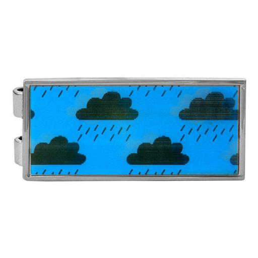 Money Clip Weather clouds lenticular - Rhodium plate A Great High Quality Product