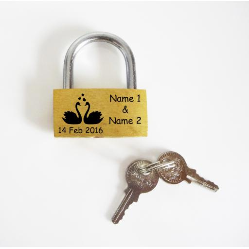 Swans Design 40mm Pad Lock Personalised Engraved Padlock Present, Gift