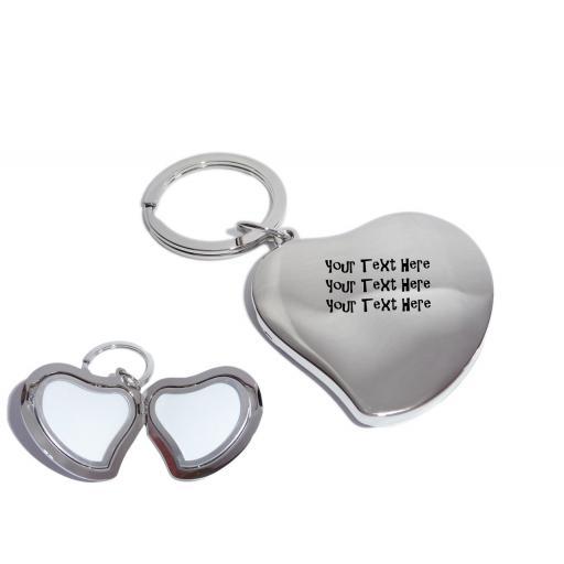 Personalised Silver Heart Photo Locket Keyring