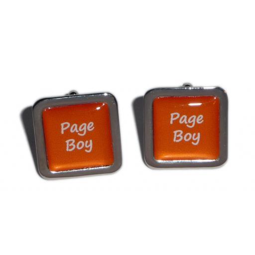 Page Boy Orange Square Wedding Cufflinks