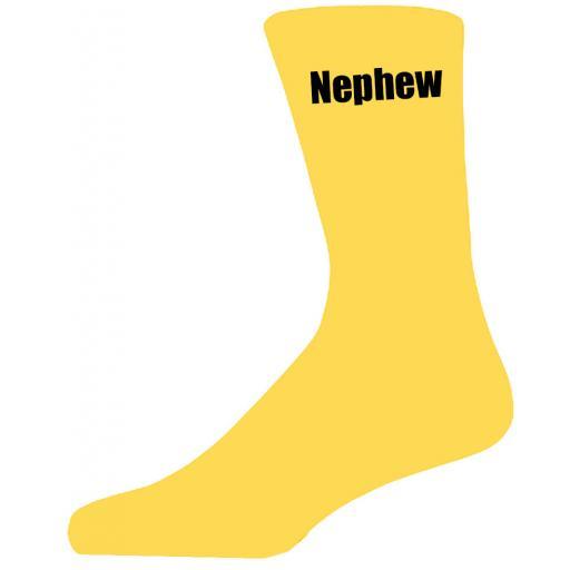 Yellow Wedding Socks with Black Nephew Title Adult size UK 6-12 Euro 39-49