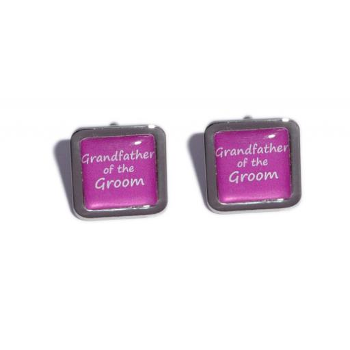 Grandfather of the Groom Hot Pink Square Wedding Cufflinks
