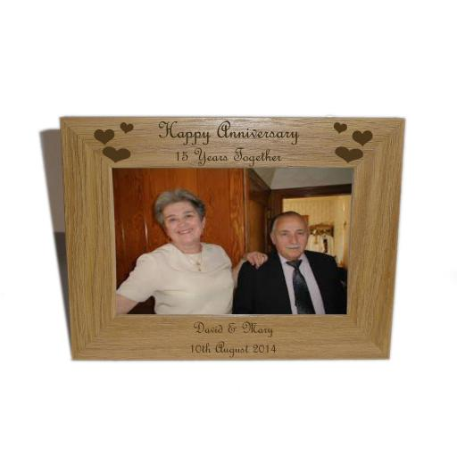 Happy Anniversary 15yrs Wooden frame 6 x 4-Personalise this frame-Free Engraving - Please email glamgifts50@yahoo co uk
