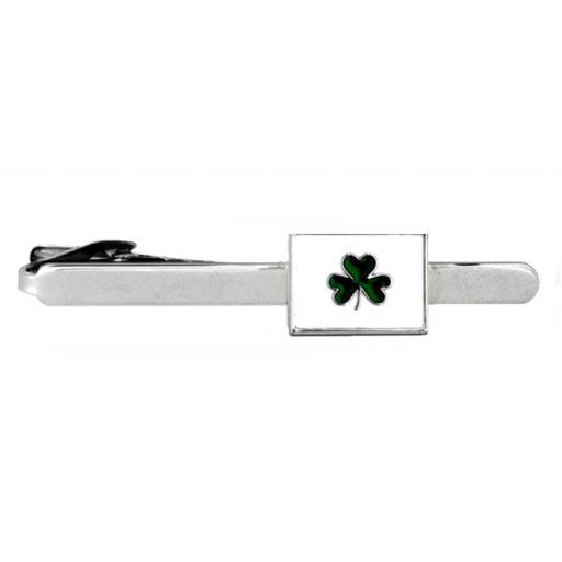 Irish Shamrock - Rhodium plate Tie Clip A Great High Quality Product
