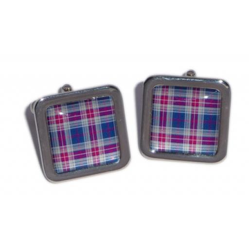 Tartan cufflinks - Blue & Purple