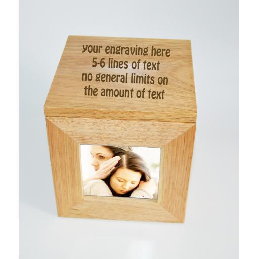 Personalised Oak Wooden Photo Engraved Oak Photo Keepsake Box Gift Idea