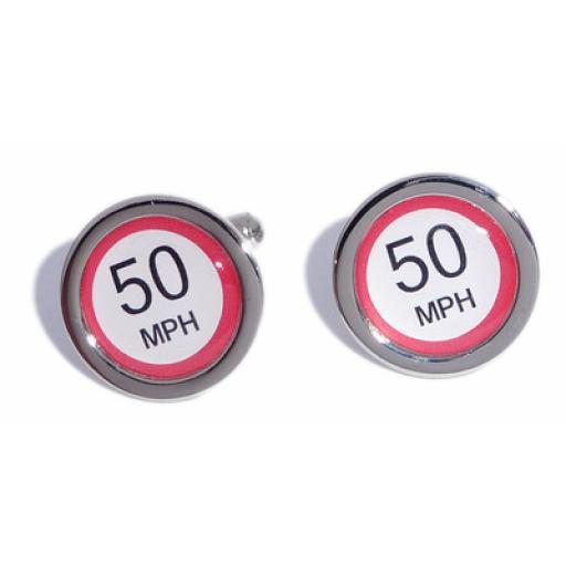 50 MPH Speed Sign cufflinks