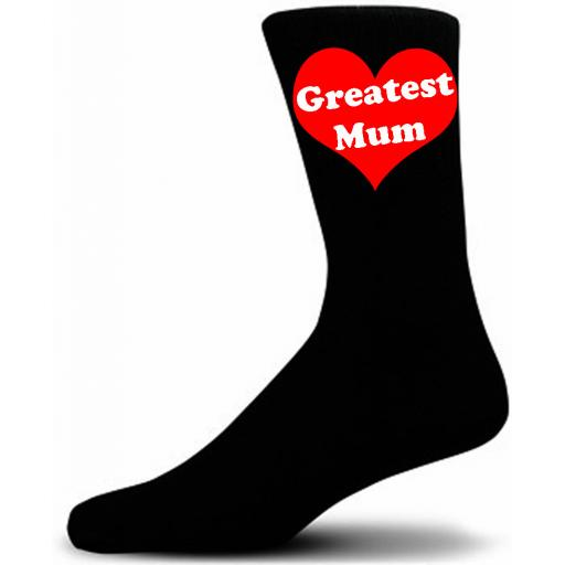Greatest Mum In Red Heart, Black Novelty Socks A Great Gift For Mothers Day