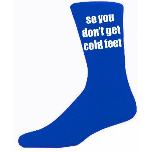 Blue Mens Wedding Socks - High Quality So you Don't Get Cold Feet Cotton Rich Blue Socks (Adult 6-12)