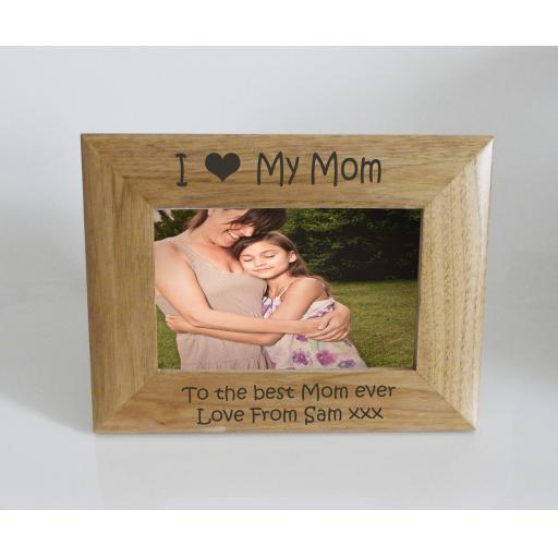 Mom Photo Frame 6 x 4 - I heart-Love My Mom 6 x 4 Photo Frame - Free Engraving