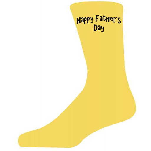 Happy Fathers Day in Black Text on Yellow Socks, Lovely Fathers Day Gift