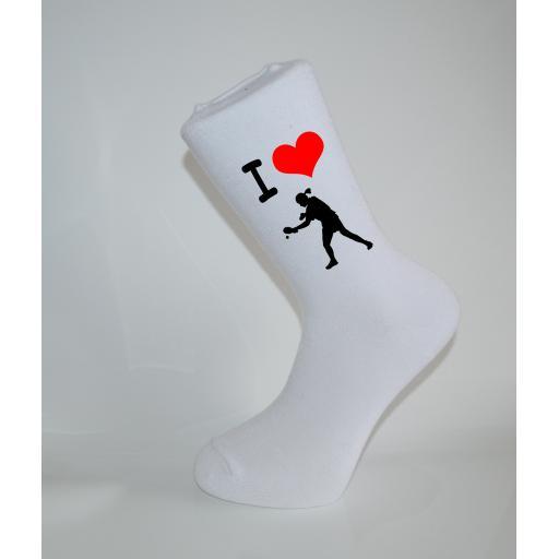 I Love Tennis White Socks, Great Socks for the sportsman, Adults 6-12