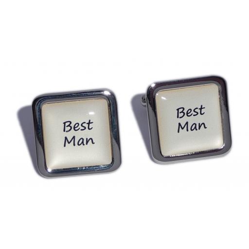 Best Man Ivory Square Wedding Cufflinks