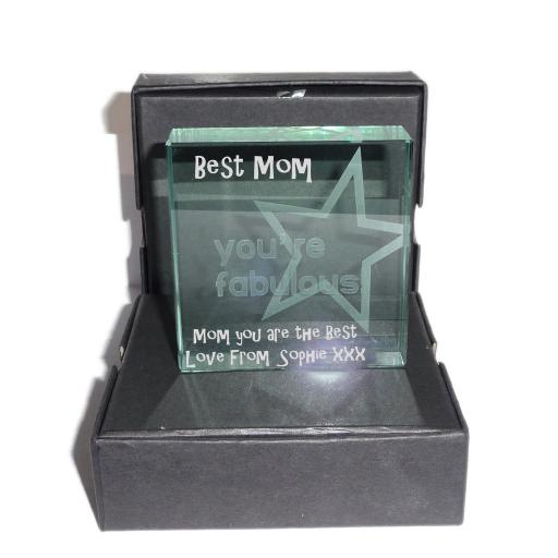 Best Mom - YOU'RE FABULOUS - Personalised Message Glass Crystal Block