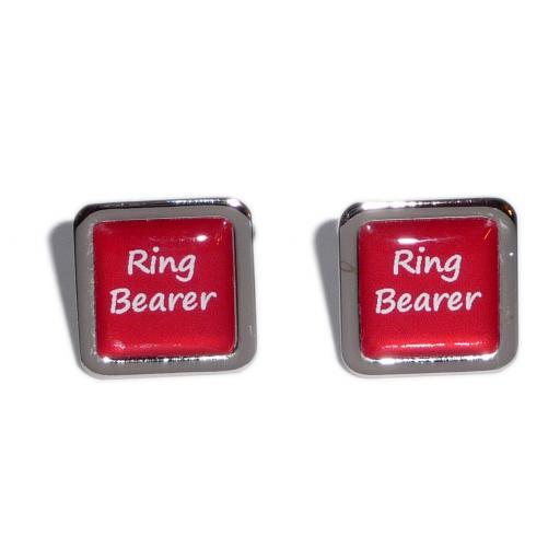 Ring Bearer Red Square Wedding Cufflinks